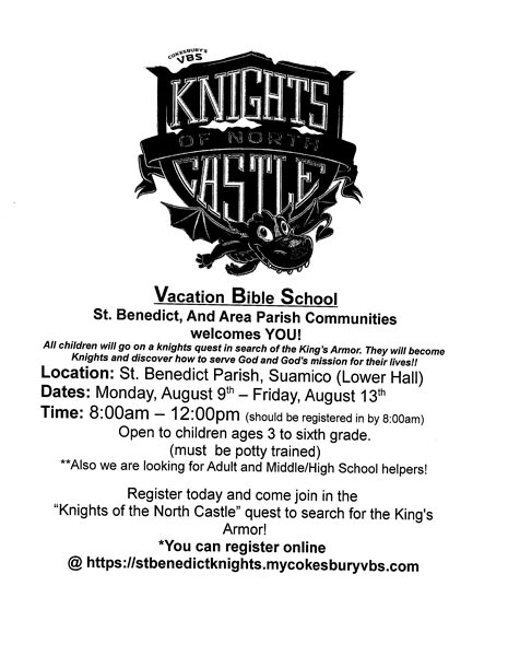 Vacation Bible School at St. Benedict's August 9th-August 13th